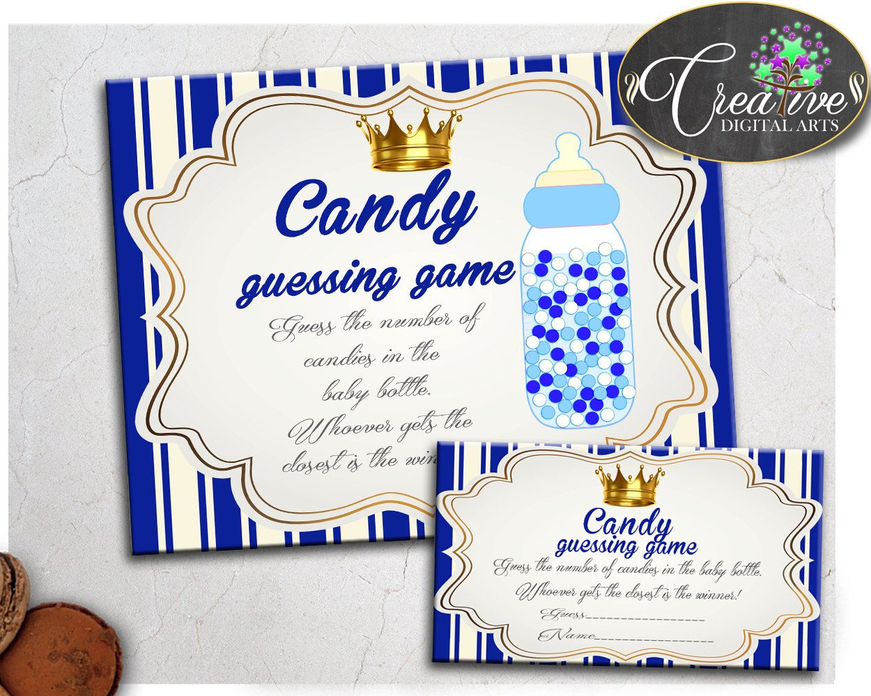 Blue Gold Candy Guessing Game Royal Prince Baby Shower Boy Sign And Cards Guess How Many
