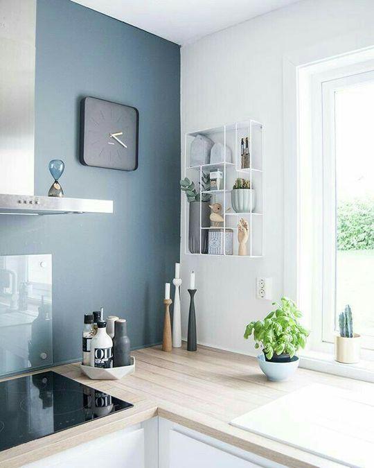 Inspiration cuisine  meubles blancs, plan de travail etn bois clair