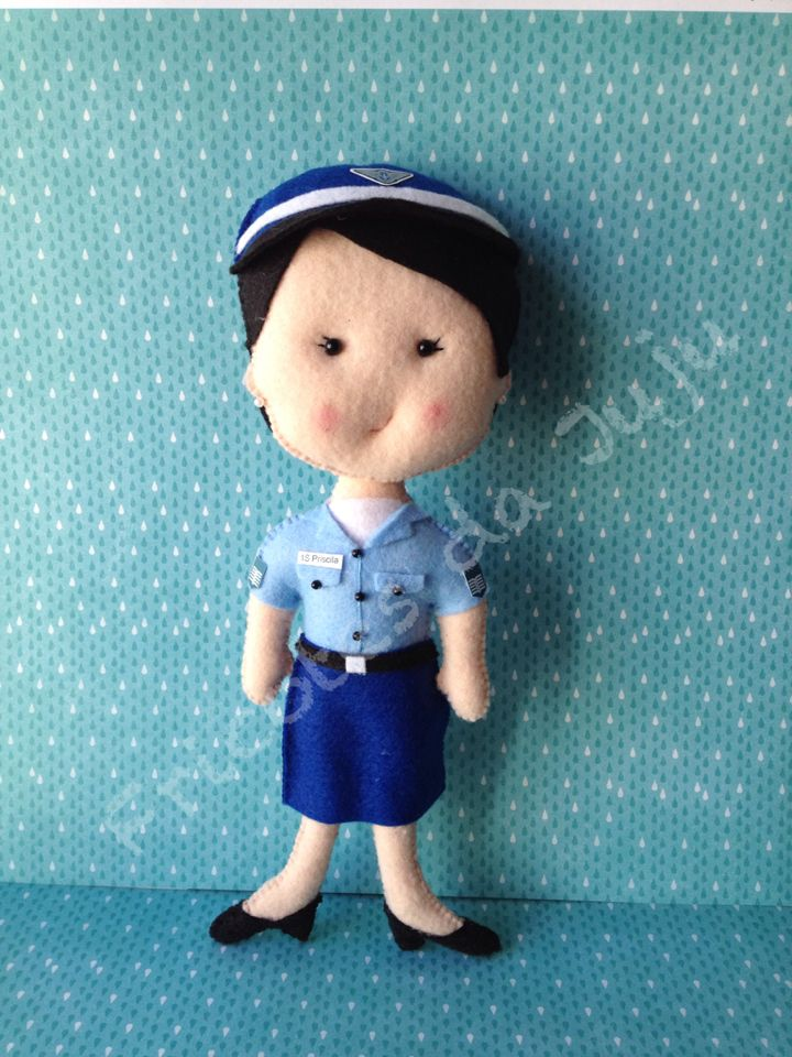Oficial da aeronáutica - felt doll - boneca de feltro