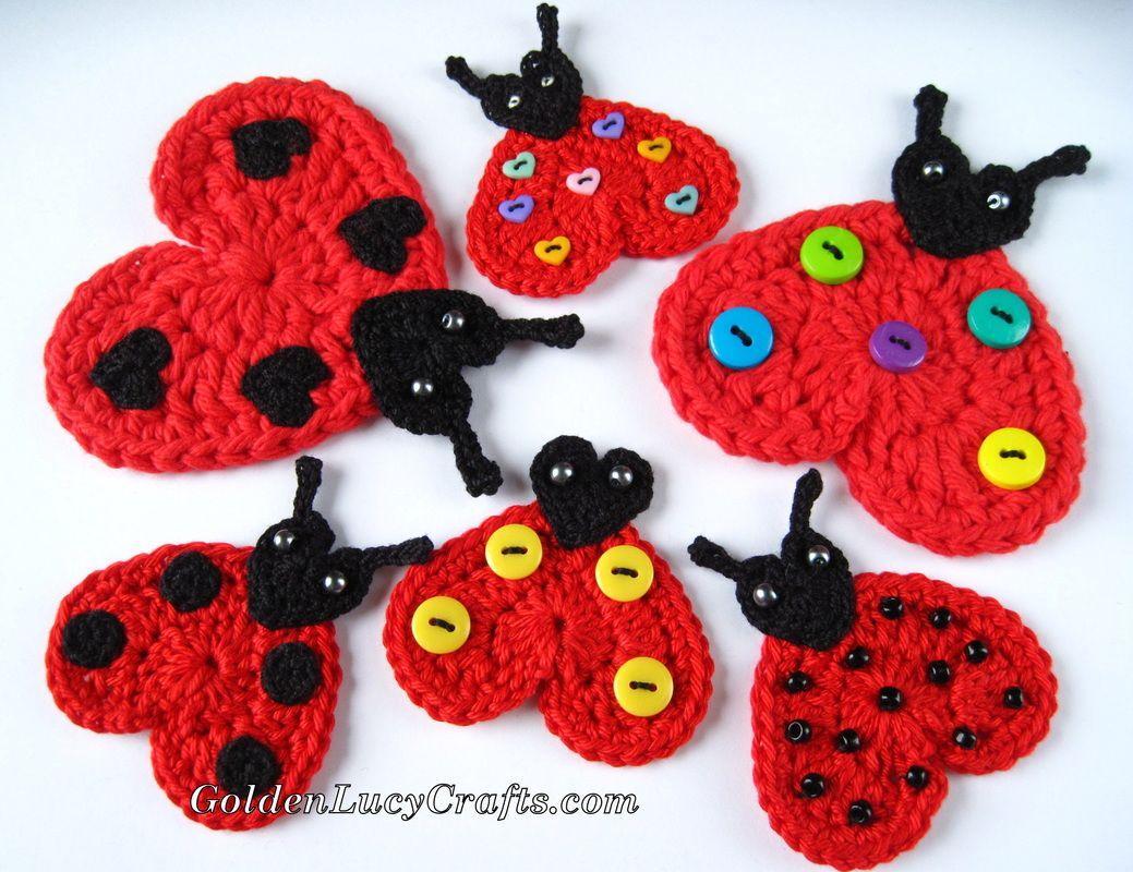 Crochet Ladybug Applique, Free Crochet Pattern | koozie decoration ...