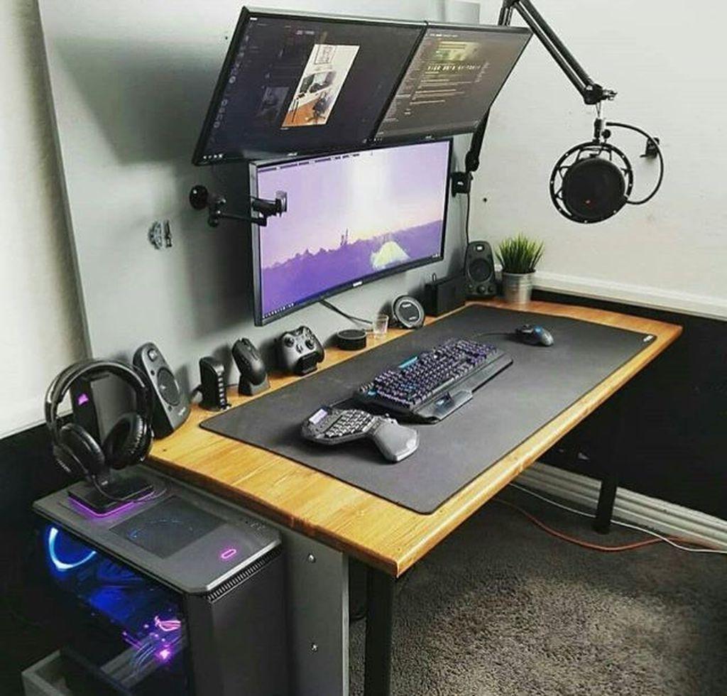 48 Stunning Game Room Design Ideas Game Room Design Gaming Desk