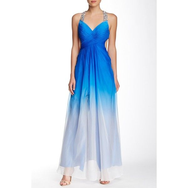 La Femme Jewel Embellished Strap Ombre Gown ($80) ❤ liked on Polyvore featuring dresses, gowns, royal blue, ombre dress, white open back dress, white evening dresses, open back dress and ombre gown