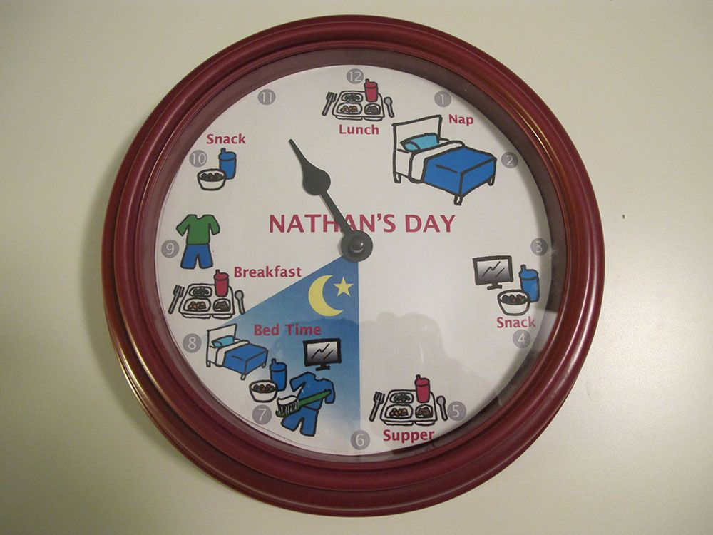 Make a clock with the time and daily schedule. For kids who don't always wake up at the same time, make two layers - bottom with the time, top with the schedule that can spin around as needed.