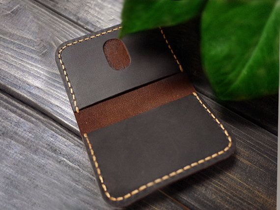 Personalized Mens Leather Card Case  Slim Leather by CityOfGod