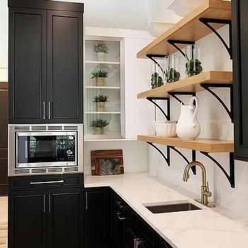 Best Black Pantry Cabinets With Iron And Blond Wood Shelves 400 x 300