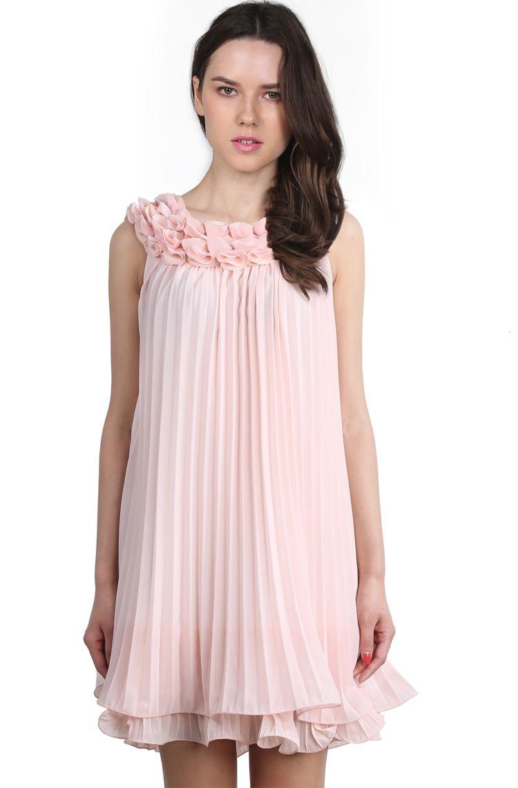 Pink Sleeveless Flowers Embellished Pleated Dress