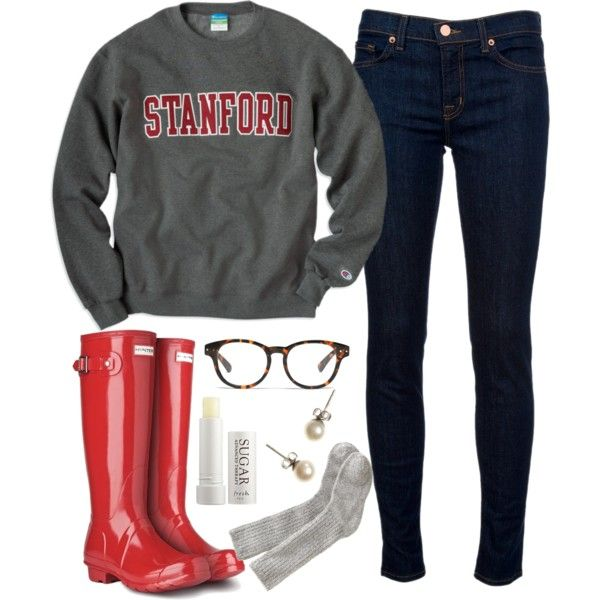 """Drizzly Day"" by carolina-prepster on Polyvore college sweatshirt Hunter boots skinny jeans"