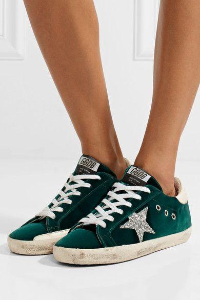 Superstar Glittered Velvet Sneakers - Emerald Golden Goose FXhYW