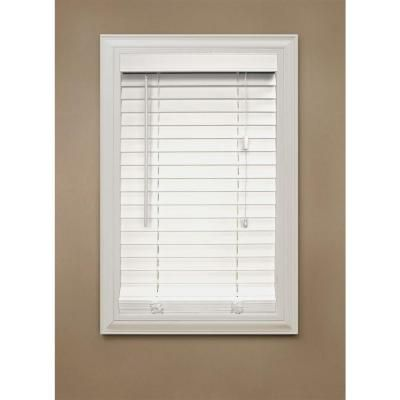 Home Decorators Collection White 2 In Faux Wood Blind 34 5 In W X 64 In L Actual Size 34 In W X 64 In L 10793478051205 With Images White Faux
