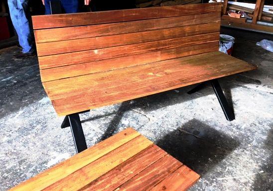 Custom Steel And Epay Benches Custom Wood Wood Bench Coffee Table