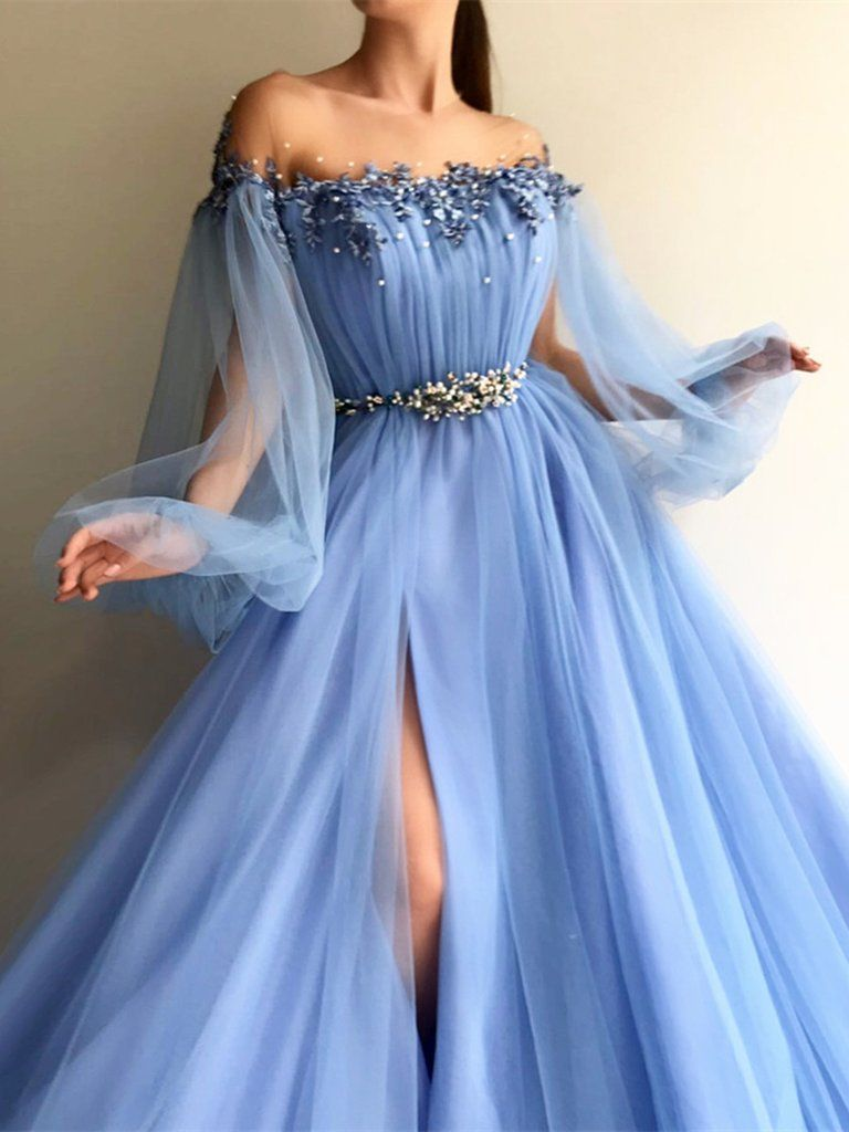 692e0997d9a Custom Made Round Neck Baby Blue Tulle Long Sleeves Prom Dresses ...
