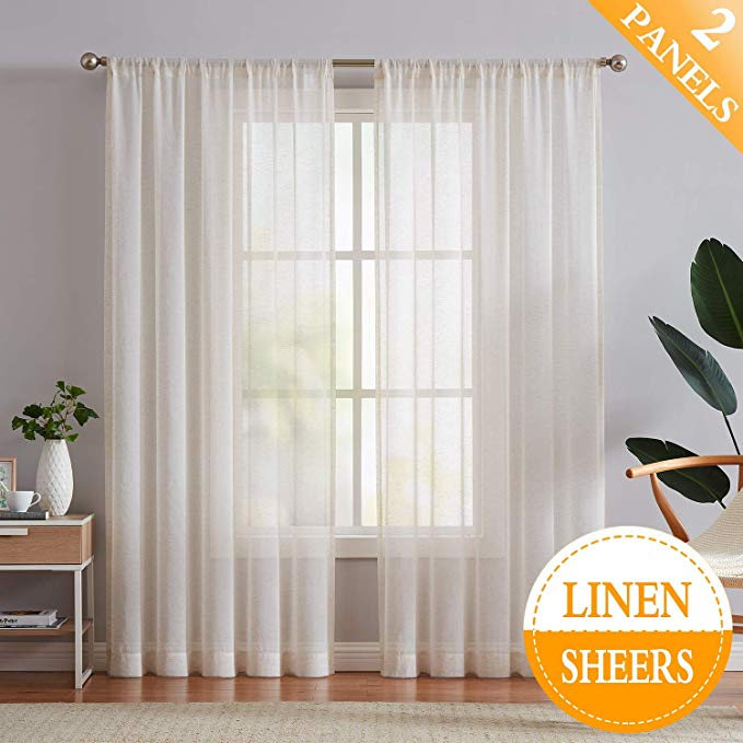 Amazon Com Flax Linen Sheer Curtains 84 Inch Long Living Room