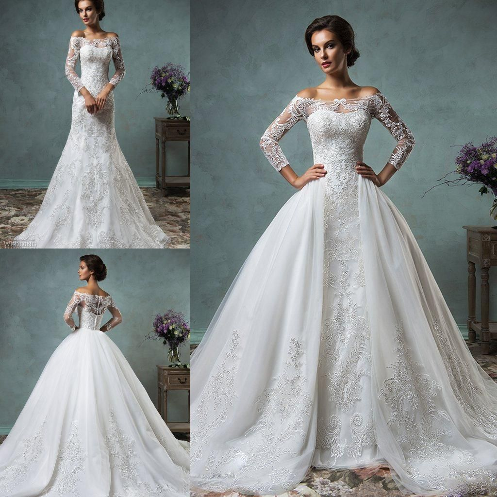 Amelia sposa 2016 wedding dresses off the shoulder lace for Wedding dress with overskirt