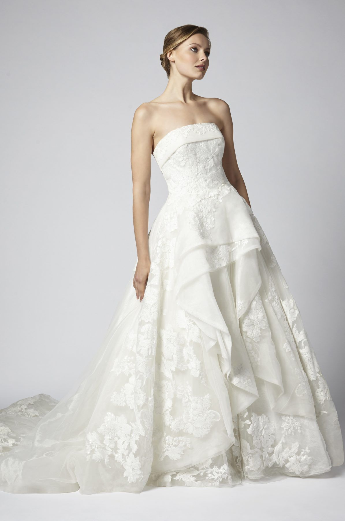 Ball gown wedding dress with bling  Strapless tulle and beaded ball gown tiered wedding dress  Henry