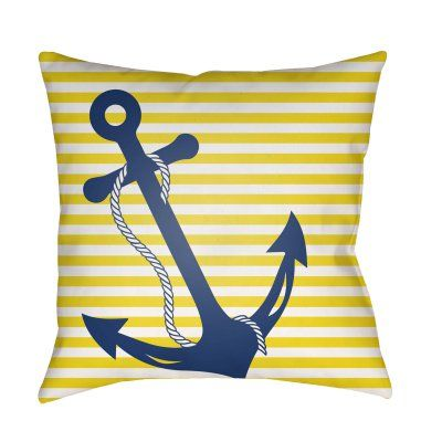 Good Surya Anchor On Pinstripe Outdoor Pillow   LIL001 1818