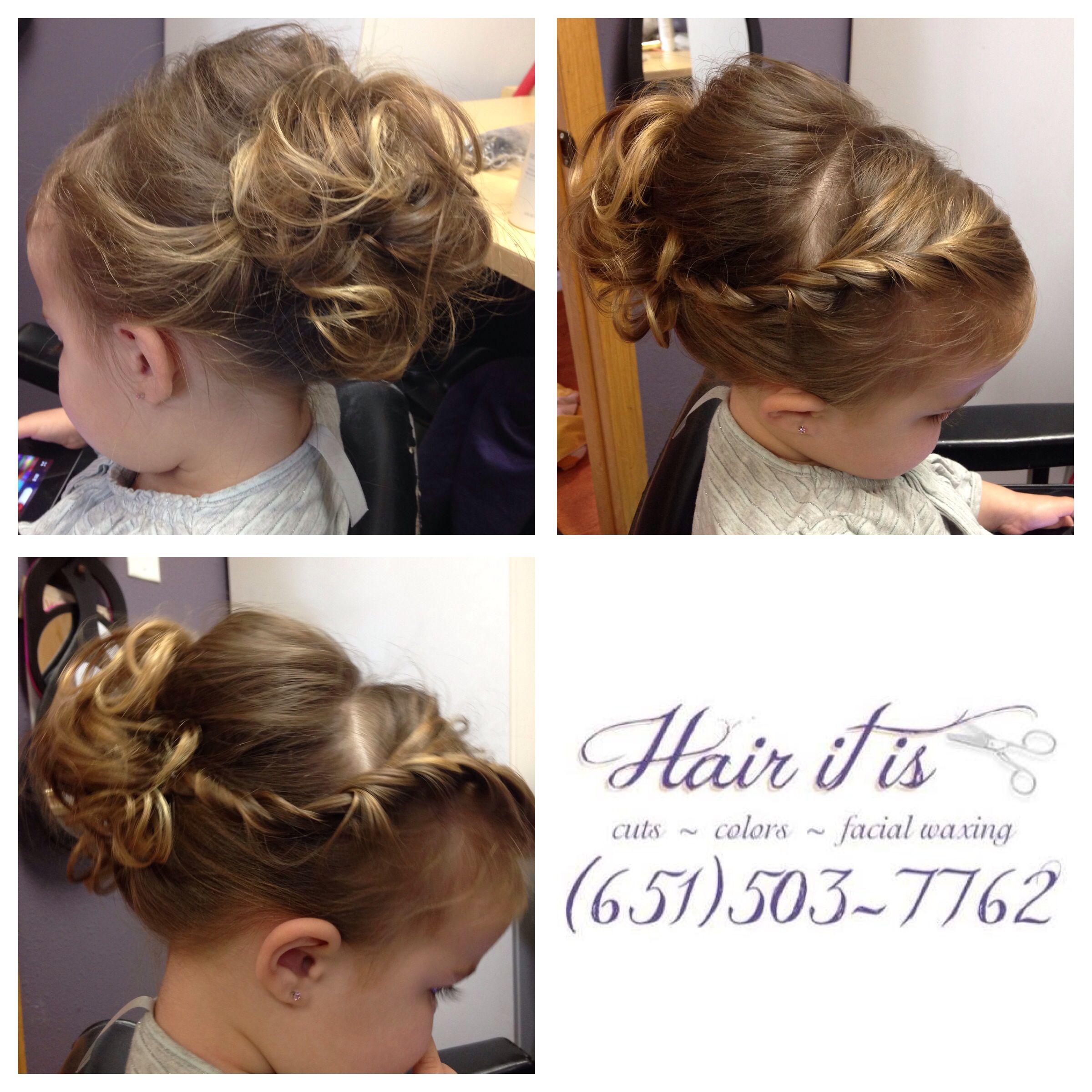 Side twist girls flower girl updo | Hair It Is Hair-Doos | Pinterest ...