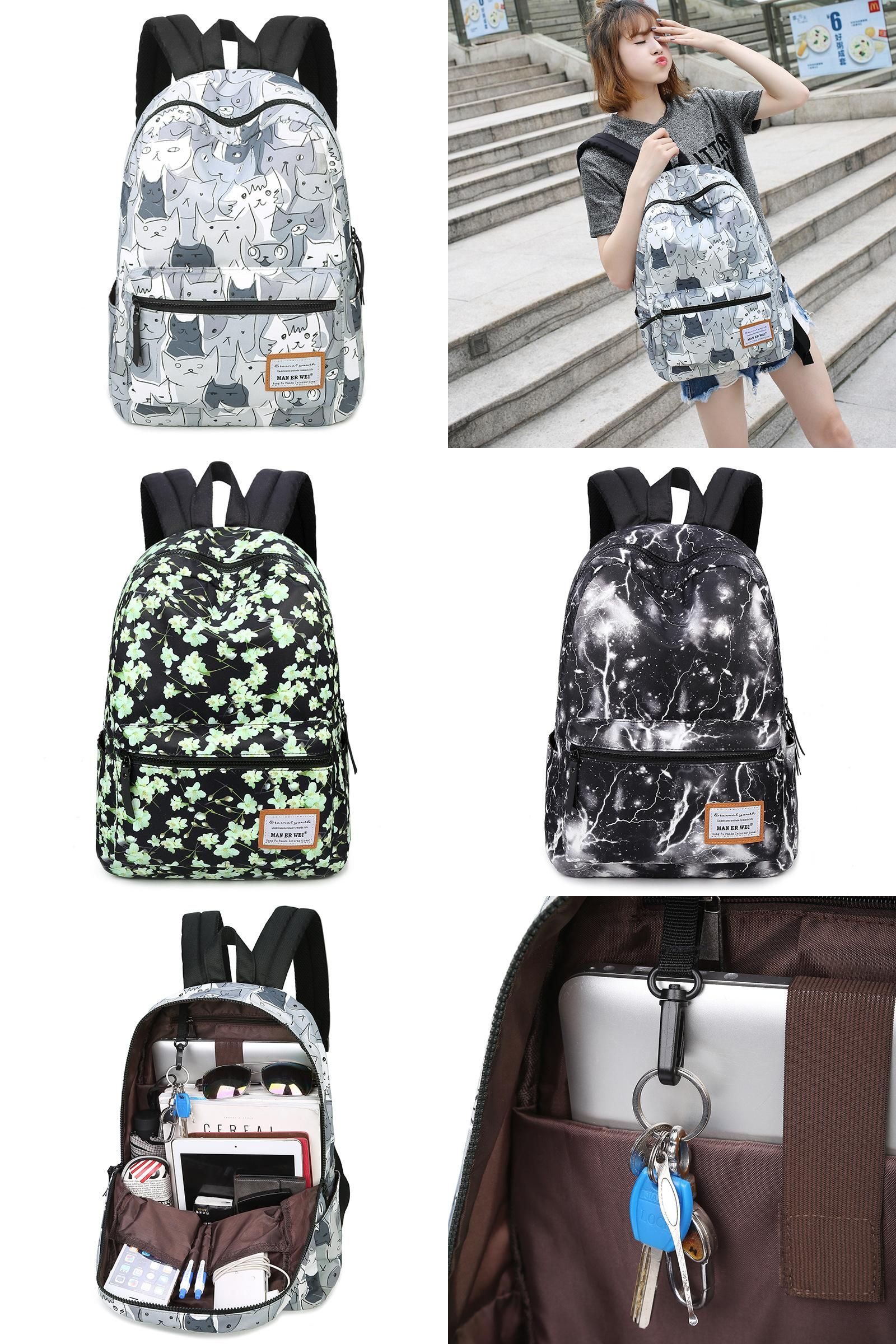 cef5e8012c Visit to Buy] MAN ER WEI Cat Printing Backpack Fashion Canvas ...