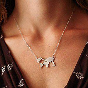 Amazon world continents pendant world map necklace silver amazon world continents pendant world map necklace silver jewelry gumiabroncs Image collections