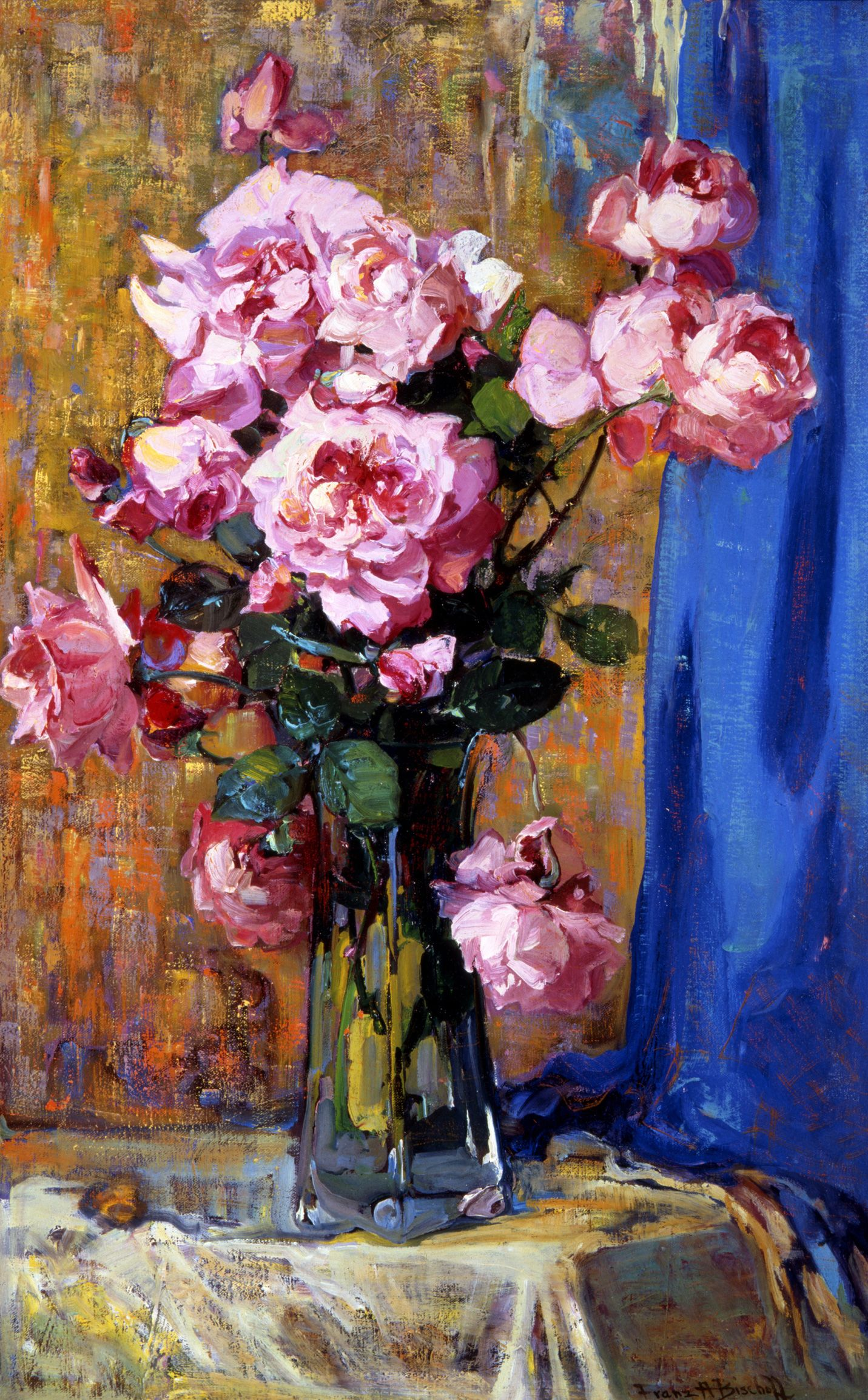Roses in a tall glass vase by franz bischoff 1912 all roses in a tall glass vase franz bischoff 1912 impressionism american more paintings by franz bischoff are on my board art of flowers franz reviewsmspy