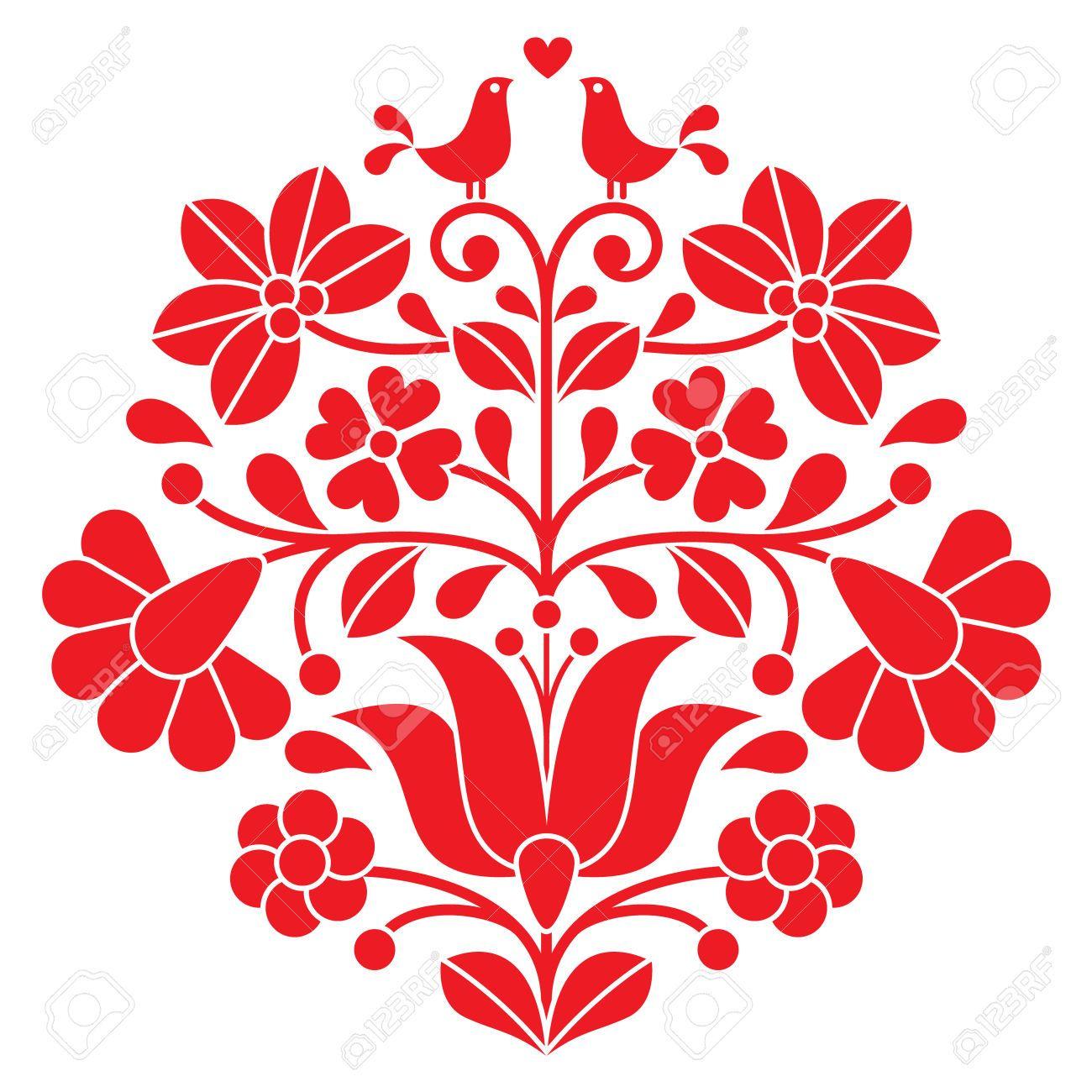 Kalocsai bordado rojo patrón floral popular húngaro con las aves