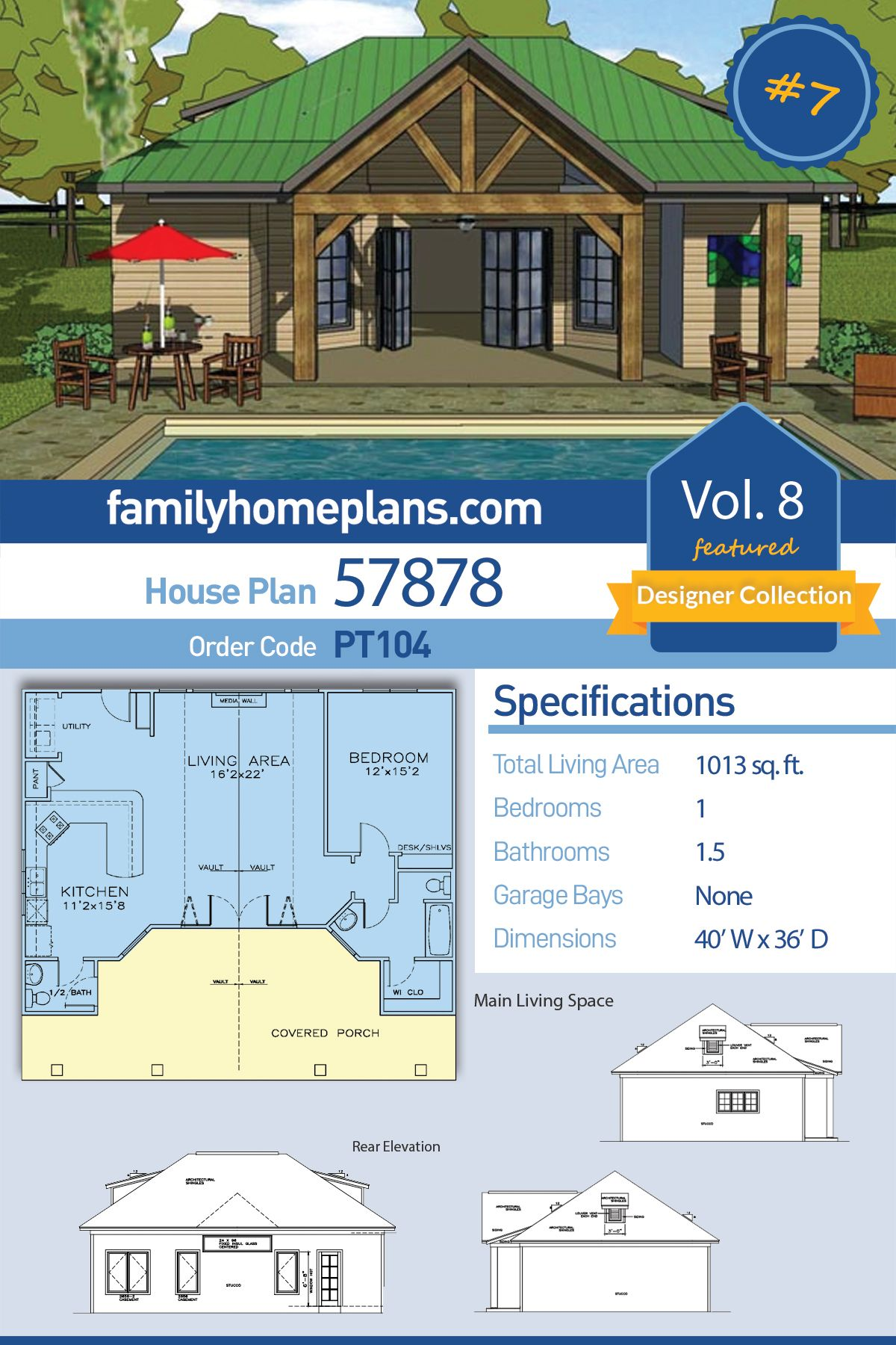 Craftsman Style House Plan 57878 With 1 Bed 2 Bath Pool House Plans Craftsman Style House Plans Family House Plans