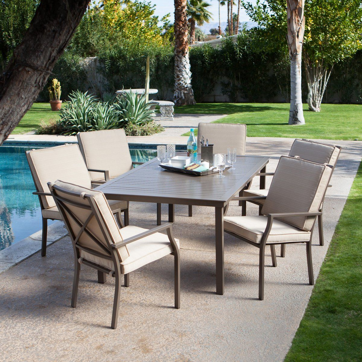 Bellagio Cushioned Aluminum Patio Dining Set Seats 6 Sets At Furniture