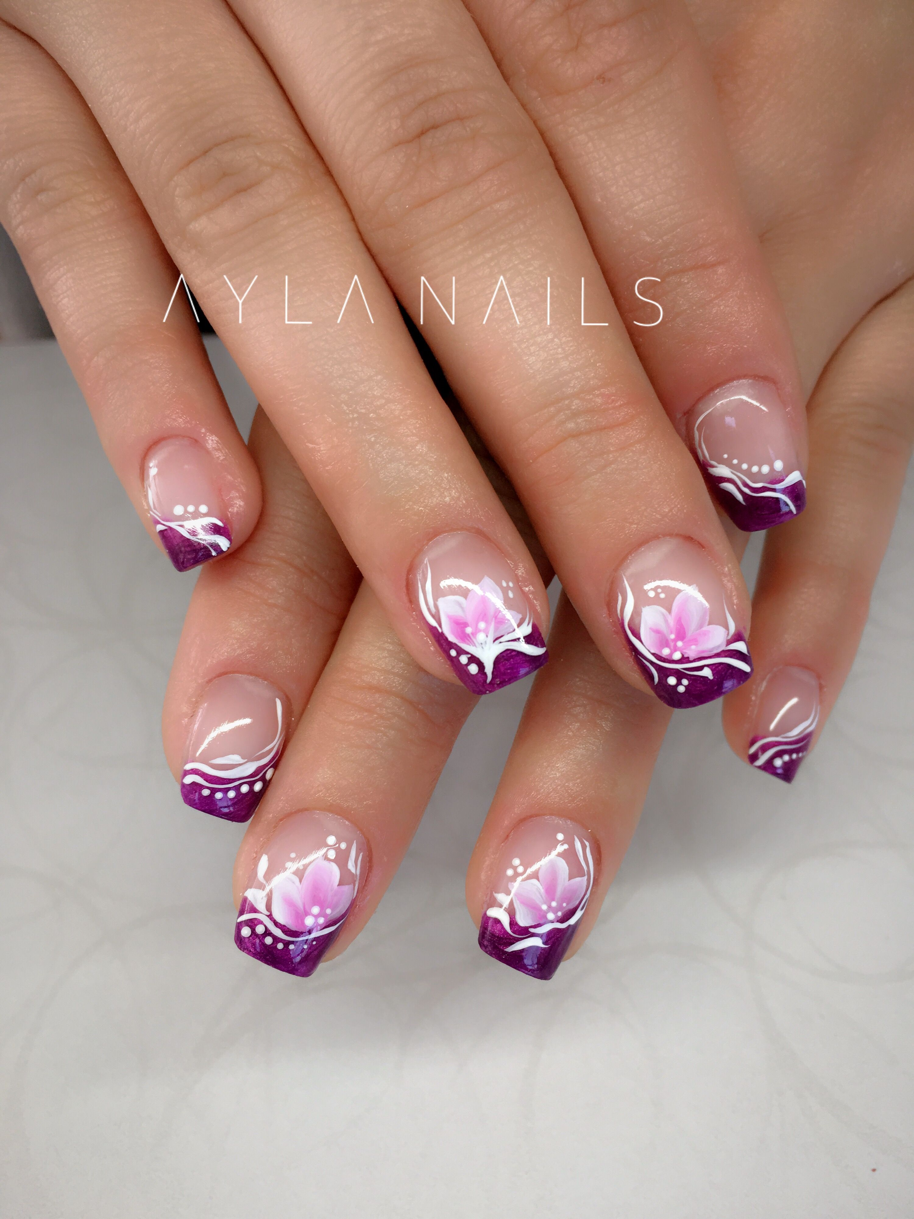 purple. pink. cute. nail art