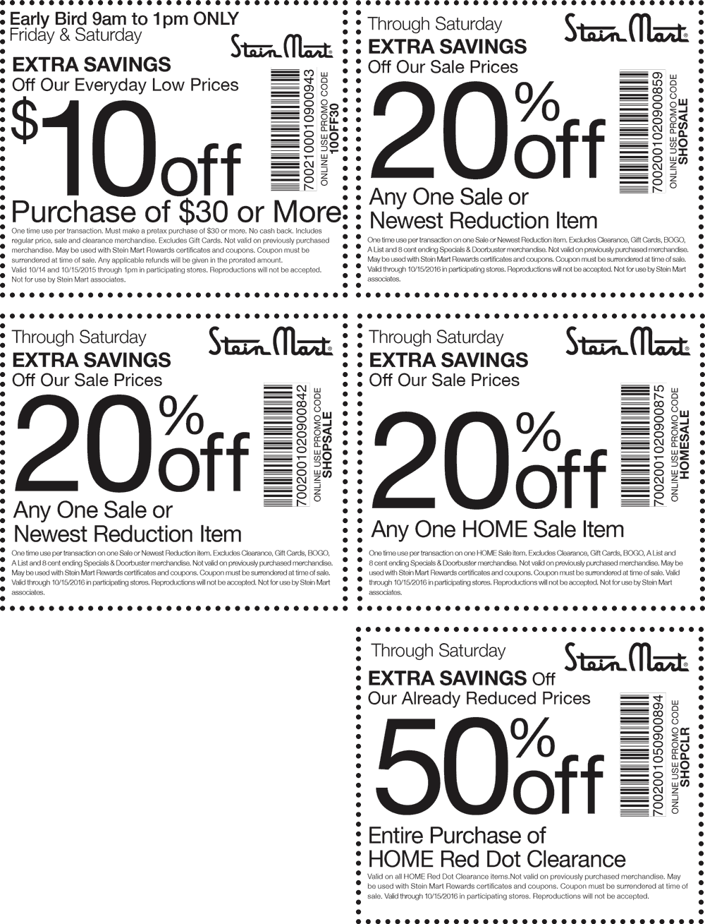 stein mart printable coupons pinned october 14th 10 30 amp more at steinmart or 24980