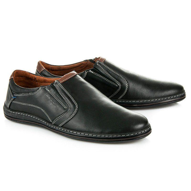 Polbuty Meskie Lucca Lucca Czarne Skorzane Obuwie Meskie Dress Shoes Men Dress Shoes Shoes