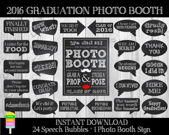 Printable Graduation Speech Bubbles And Photo By Happyfiestadesign