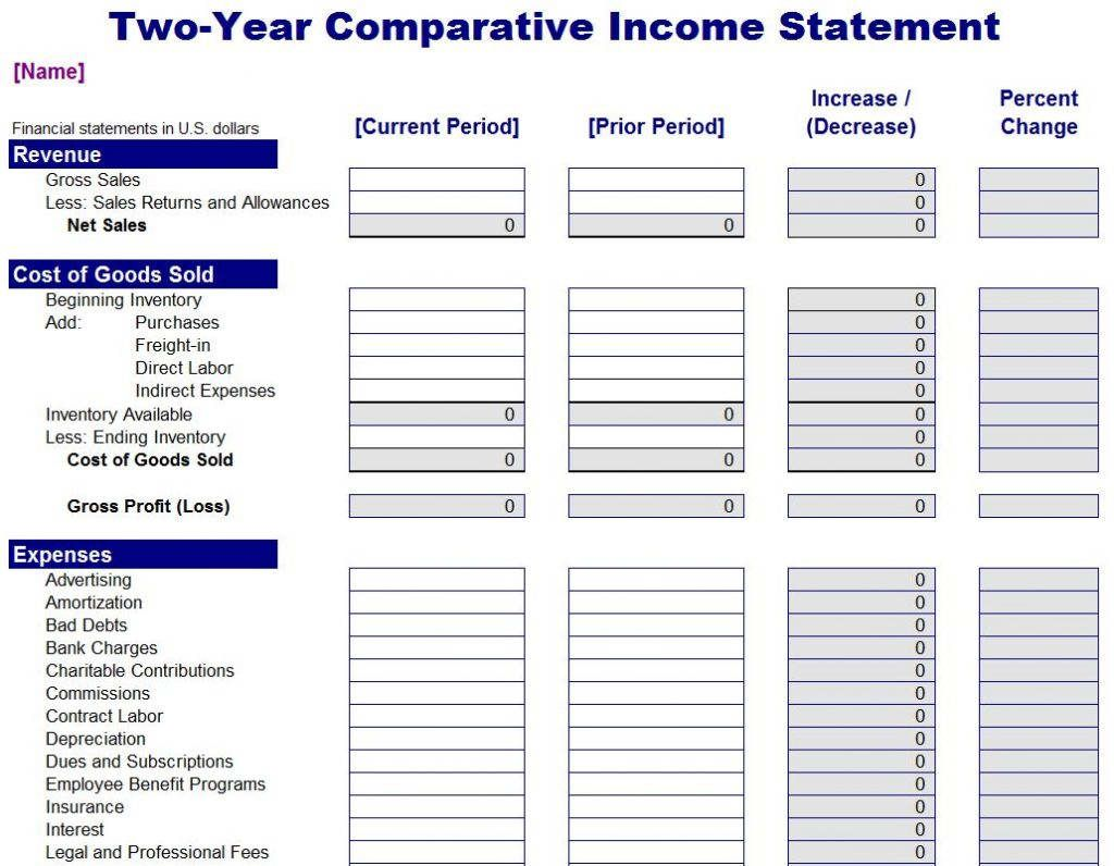 Expense And Profit Spreadsheet In 2020 Personal Financial Statement Statement Template Income Statement