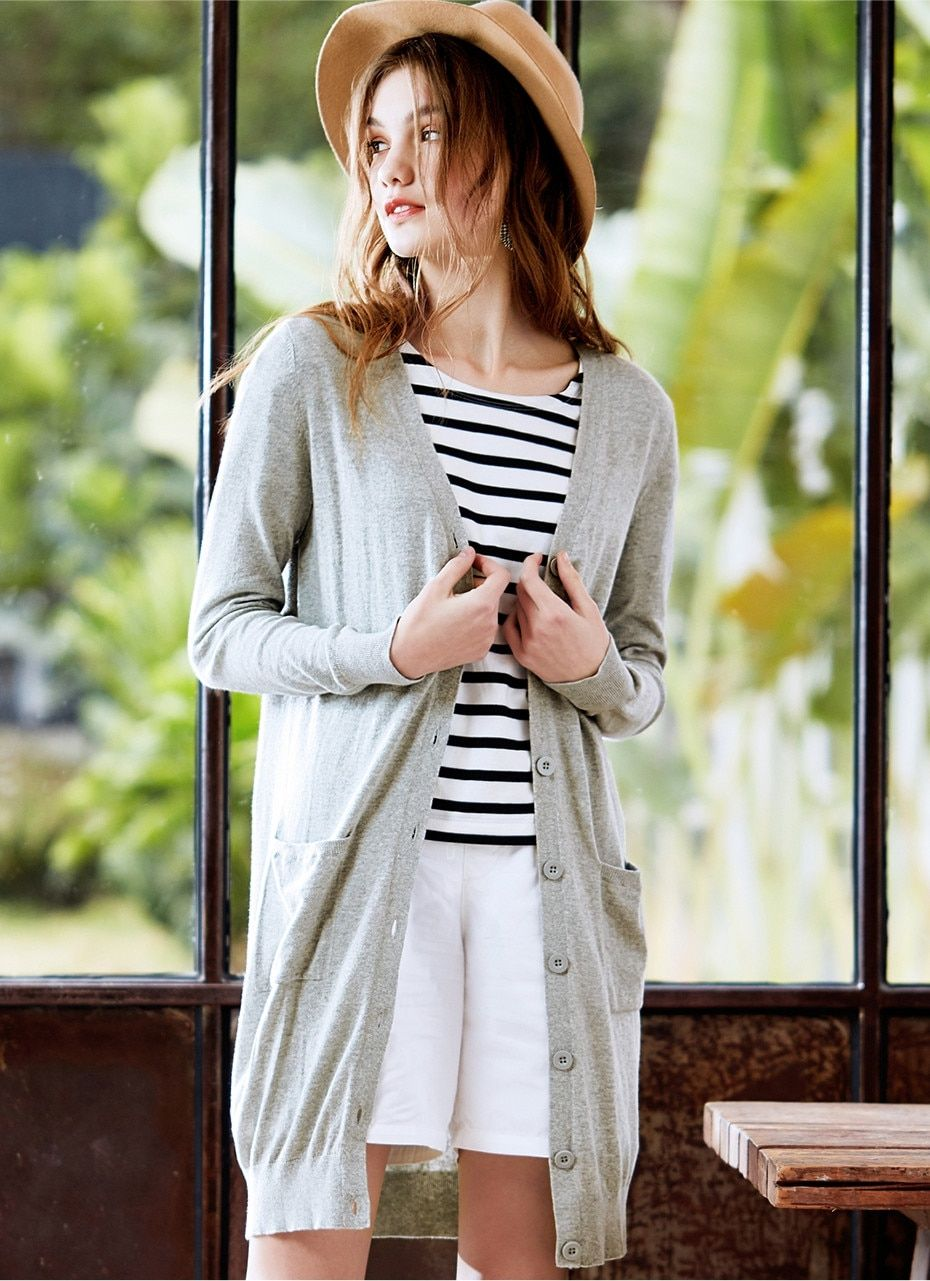 Women Cardigan V Neck Long Length Women Sweater Combed Cotton Sueter Mujer Button Front Thin Swea Party Outfits For Women Clothes For Women Cardigans For Women [ 1281 x 930 Pixel ]
