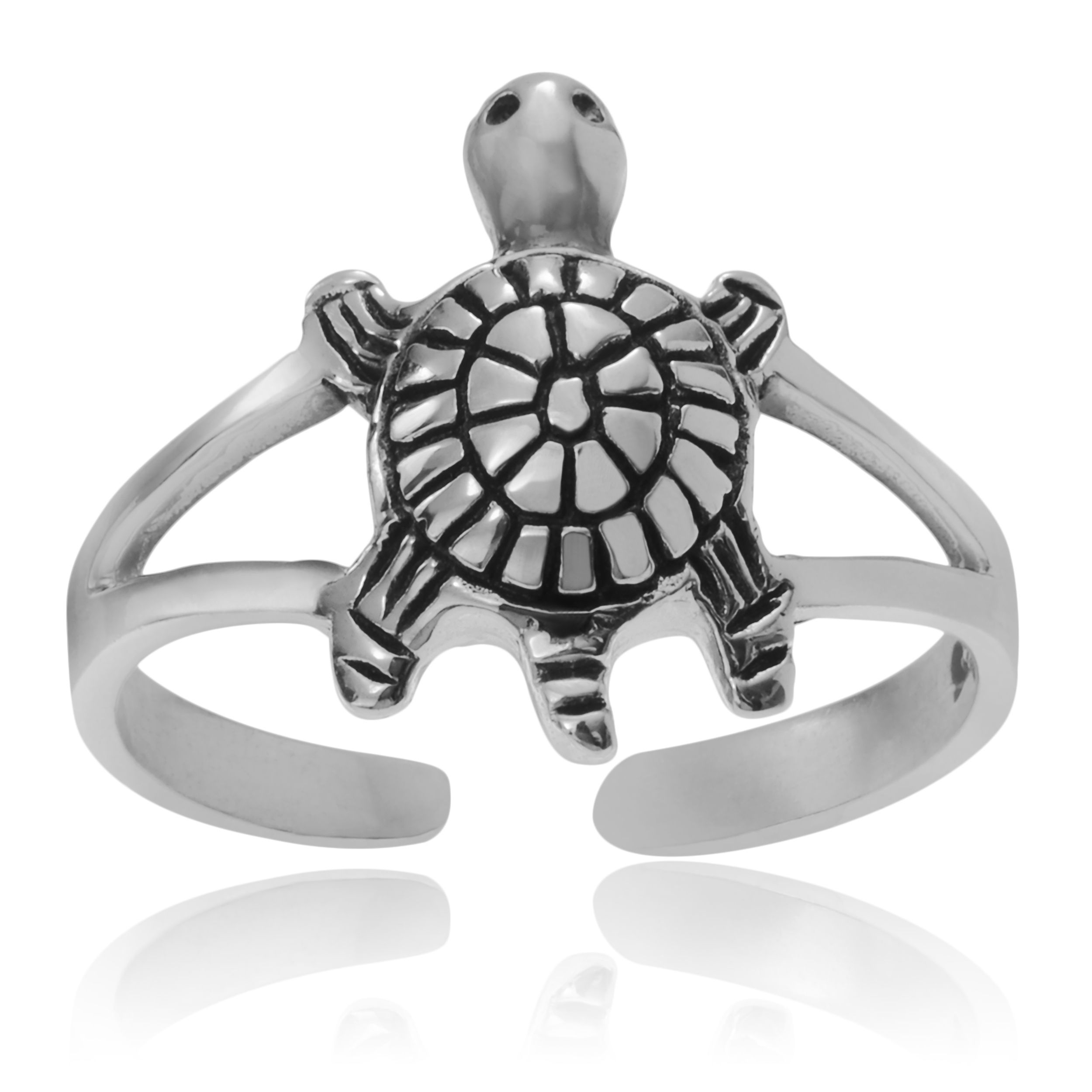 Journee Collection Sterling Turtle Adjustable Toe Ring, Women's