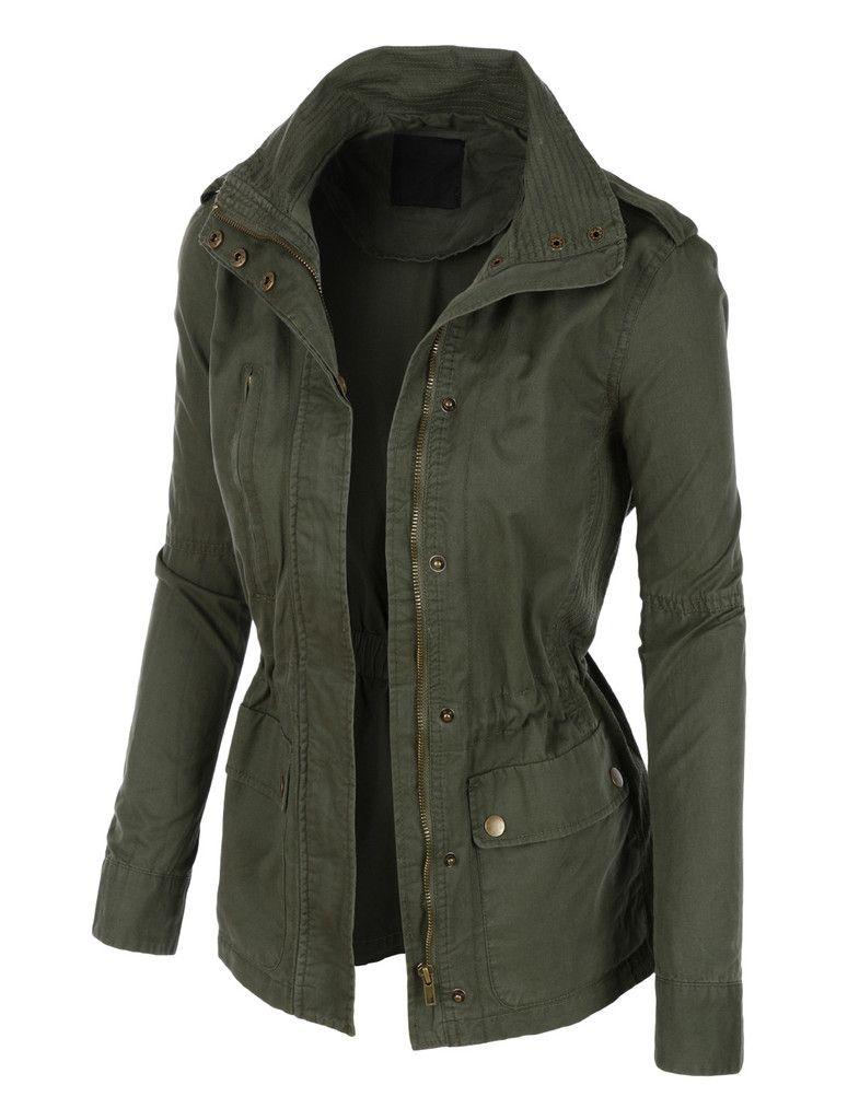 Stand Collar Safari Anorak Jacket with Pockets | WOMEN'S ...