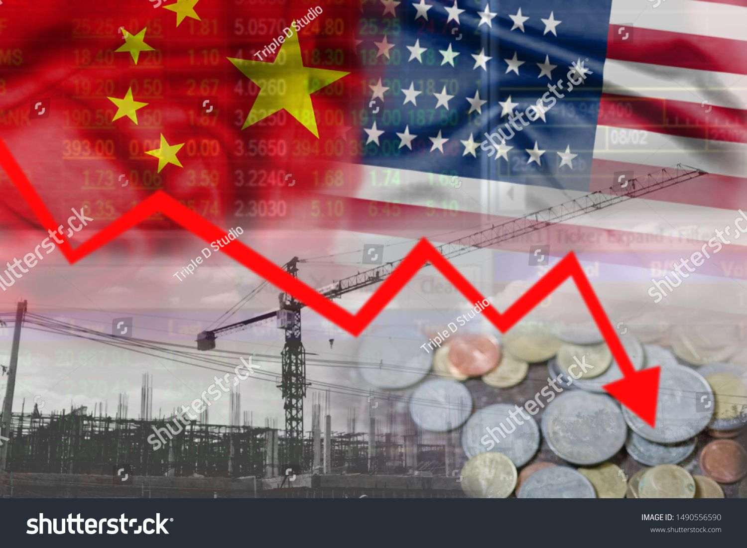 China and United States trade war Abstract finance backgroundStock market or forex trading graph and candlestick chart suitable for financial investment concept Economy o...