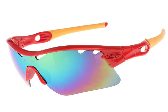 New Oakley Radar Path Glasses outlet Red Yellow Frame Rainbow Lens $12.97