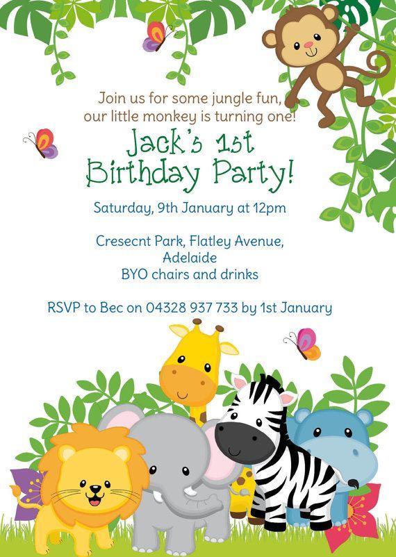 Selva cumpleaños invitación selva por LoveStoryInvitations en Etsy ...