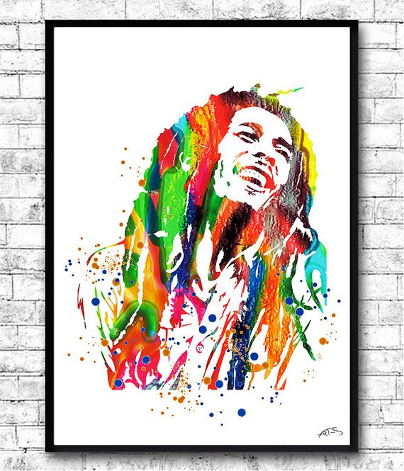 Bob marley watercolor print wall hanging giclee wall print home decor wall decor bob marley for Poster decoration murale