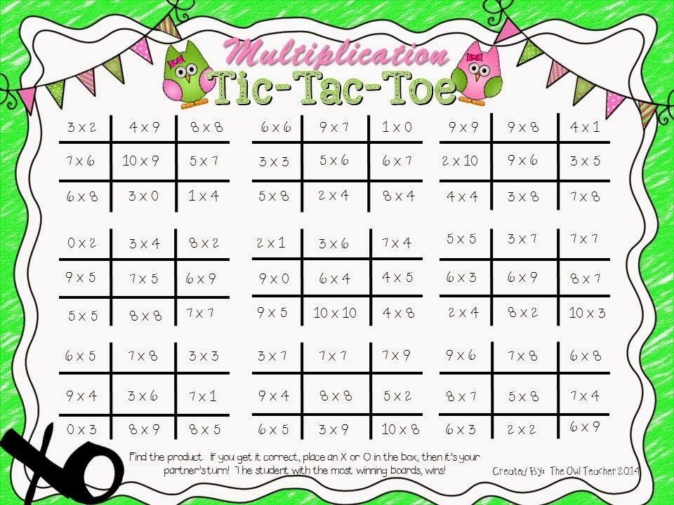 Free download of a multiplication tic tac toe game ...