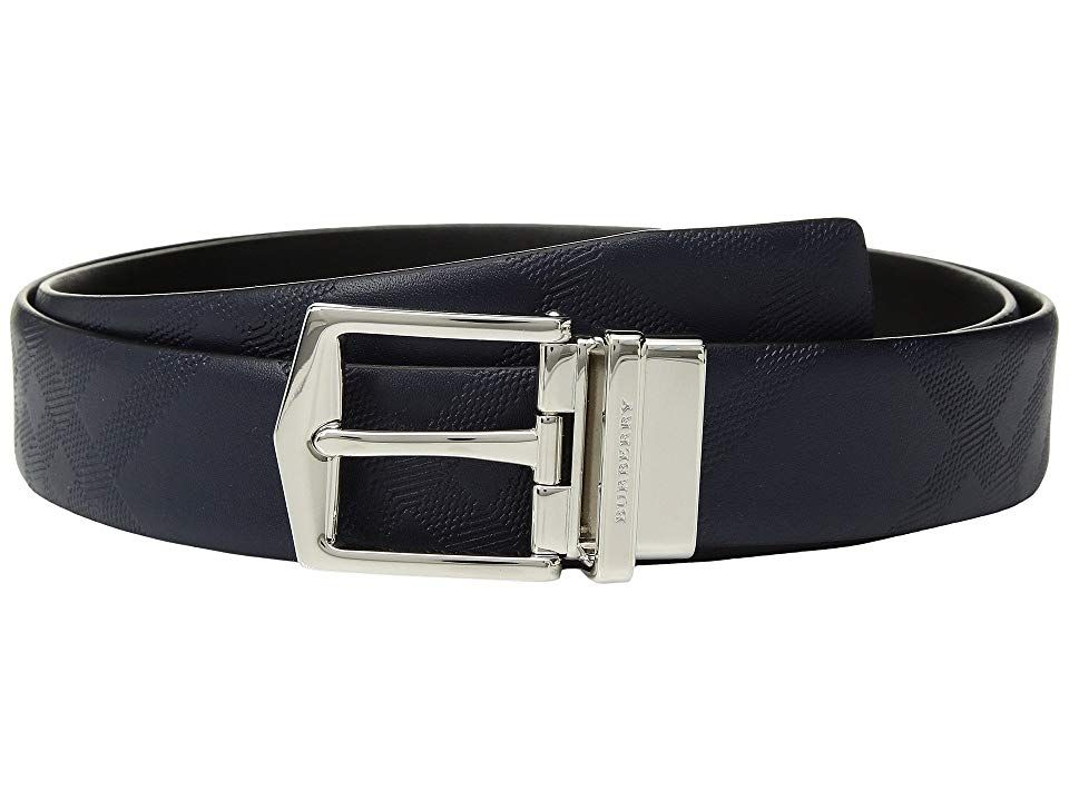 Burberry Joe London Check Belt Dark NavyBlack Mens Belts Raise the stakes of your fashionable endeavor with the handsome Burberry Joe London Check Belt Belt made of stron...