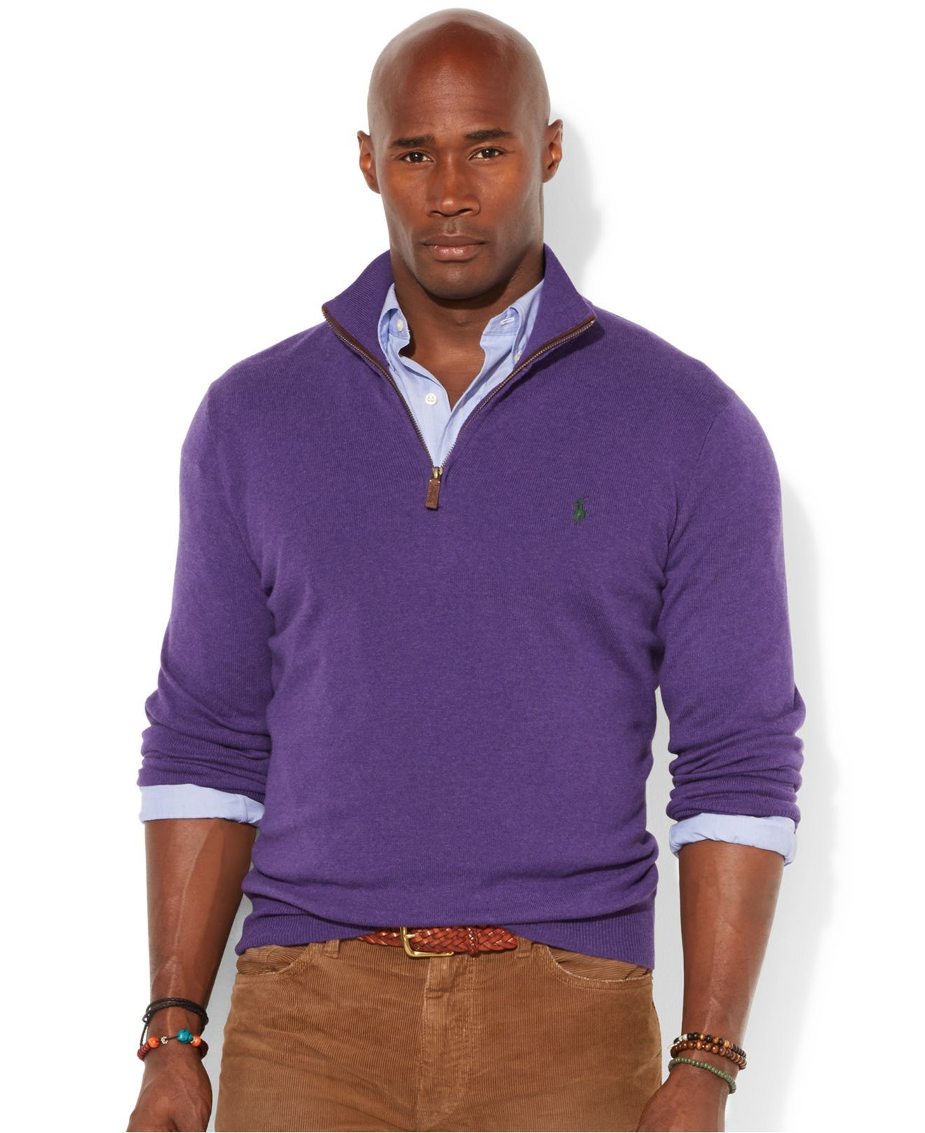 Polo Ralph Lauren French-Rib Half Zip Pullover Sweater in Purple ...