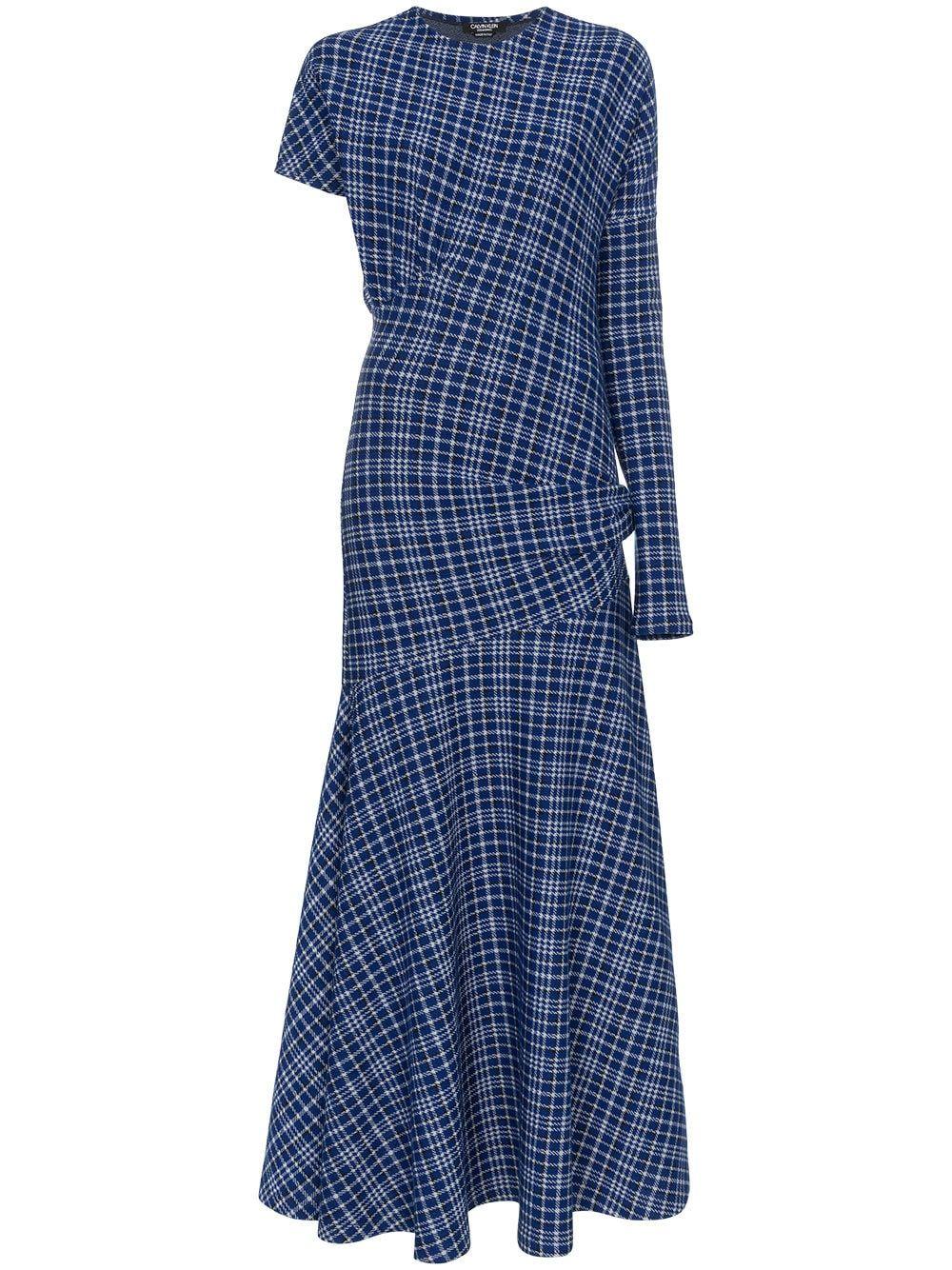 20a26bf3c6 Calvin Klein 205W39nyc single sleeve check asymmetric dress ...