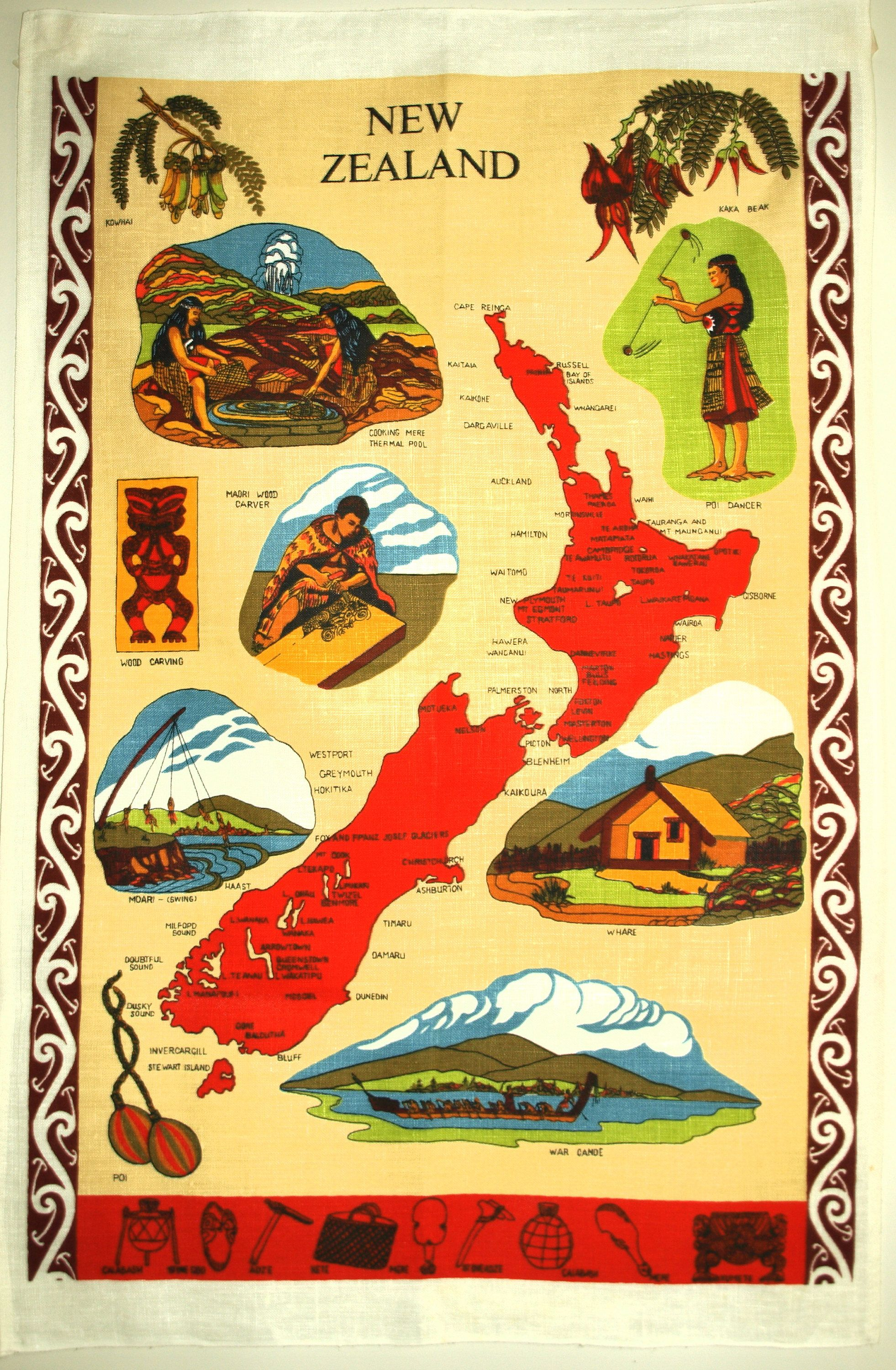 New Zealand Map Souvenir Tea Towel S Maori Tiki Patu Tekoteko - Map of teas