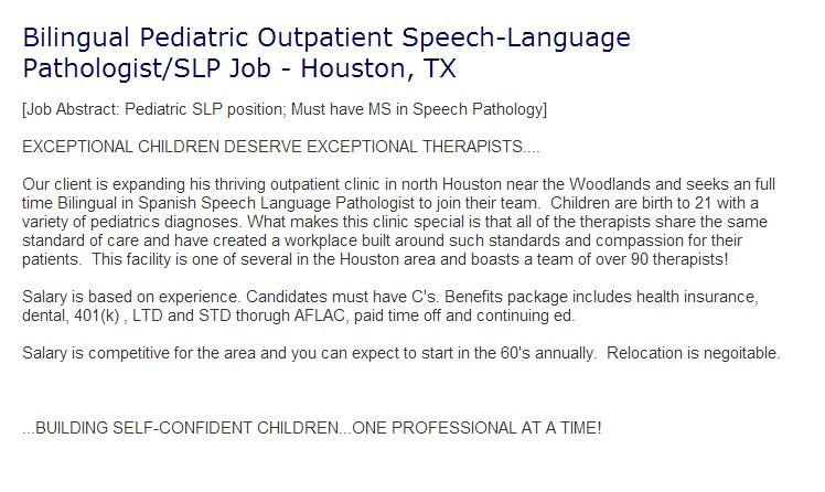 Bilingual Pediatric Outpatient Speech Language Pathologist Slp Job