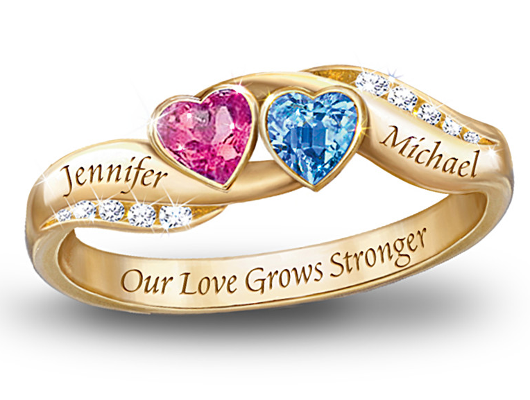 7aef4084e7 Personalized His and Her heart-shaped birthstone ring with names - Gold ring  is engraved with