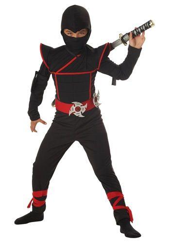 BOYS NINJA COSTUME FANCY DRESS OUTFIT ROLE PLAY BLACK SAMURAI WARRIOR WORLD BOOK