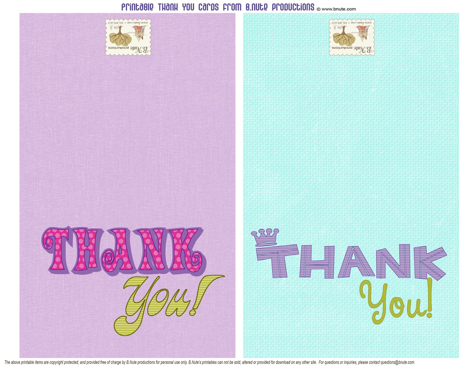 Free Printable Thank You Cards For The Kids