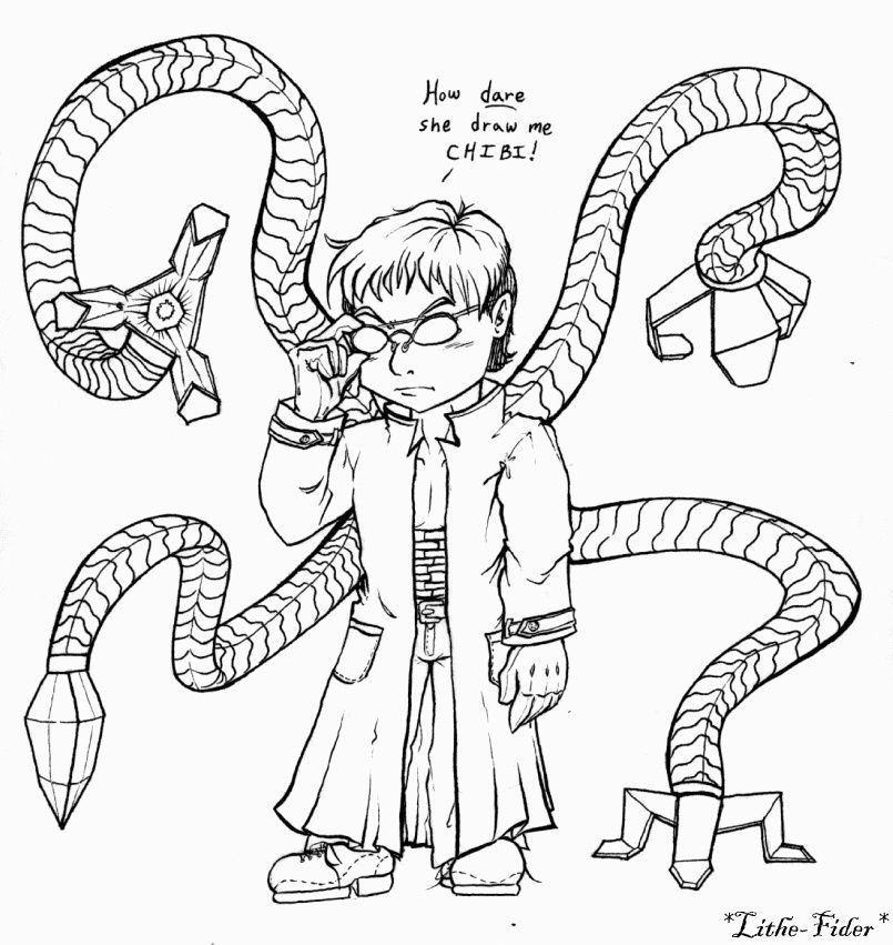 Chibi Doc Ock By Lithe Fider On Deviantart Marvel Coloring Octopus Coloring Page Octopus Colors