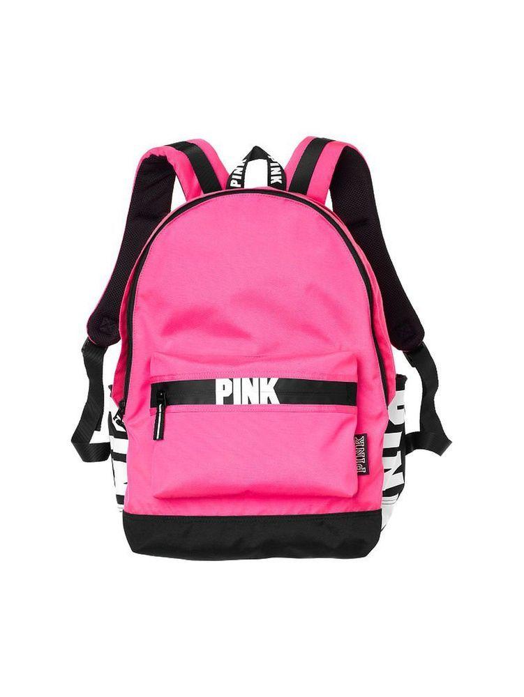 8b8e79ba721 ... outlet store sale 1de35 77ed5 Victorias Secret PINK Logo Campus Backpack  in Hot Pink NWT eBay ...