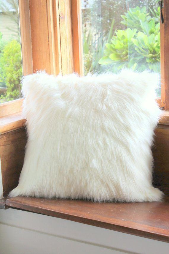 Machine Washable Lush Off White Faux Fur Floor Cushion 3
